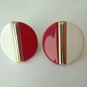 Vintage 80s Clip Earrings Red White Medallion